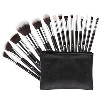 DUcare 15 Pcs Makeup Brushes Synthetic Kabuki Foundation Eyeshadow Brushes Set With Cosmetic Bag…