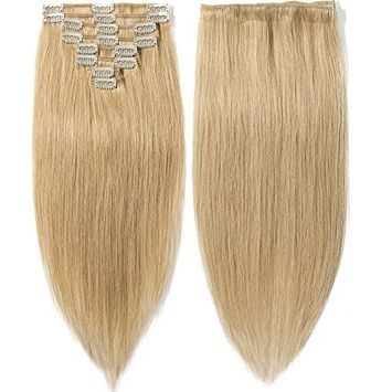 Clip in Remy Human Hair Extensions Full Head 8 Pieces Set Long length Straight Very Soft Style Real Silky for Beauty #27 Dark Blonde