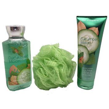 Bath & Body Works Signature Collection Shower Gel, Body Cream & Sponge Bundle Cucumber Melon