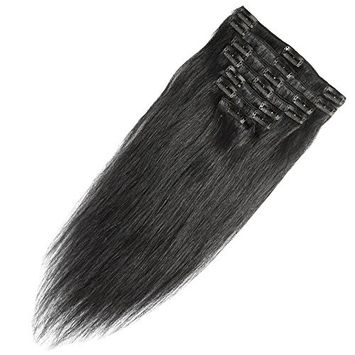 16 inch 90g Clip in Remy Human Hair Extensions Full Head 8 Pieces Set Long length Straight Very Soft Style Real Silky for Beauty #1B Natural Black []