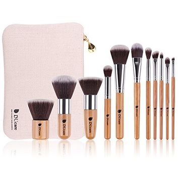 DUcare 11Pcs Makeup Brush Set Professional Bamboo Handle Synthetic With Bag