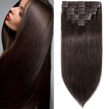 8 inch 65g Clip in Remy Human Hair Extensions Full Head 8 Pieces Set Long length Straight Very Soft Style Real Silky for Beauty #2 Dark Brown []