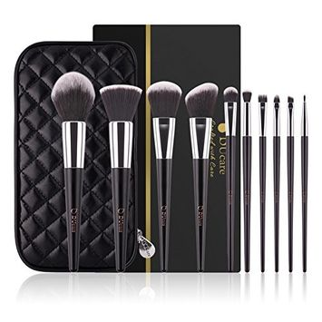 DUcare Makeup Brushes10pcs Kabuki Brush Set Synthetic Makeup Brush Foundation Eyeshadow Eyebrow Concealer Powder Brushes
