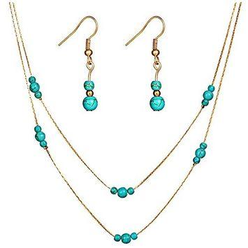 Round Turquoise Gem Multilayer Necklace Ear Studs Set (G