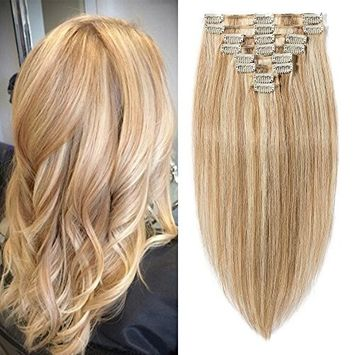 20 inch 105g Clip in Remy Human Hair Extensions Full Head 8 Pieces Set Long length Straight Very Soft Style Real Silky for Beauty #12/613 Light Golden Brown/Bleach Blonde []