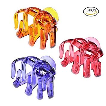 Pretty See No-slip Grip Octopus Clips Practical Octopus Jaw Hair Claw Clips, Set of 3 [A Types Set]