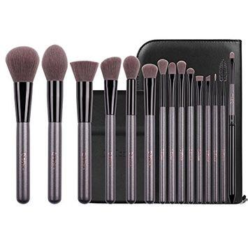 DUcare Makeup Brushes 15Pcs Professional Makeup Brush Set Cosmetic Foundation Powder Blending Contour Lip EyeShadow Eyebrow with Portable Vanity Mirror, Design Bag Purple