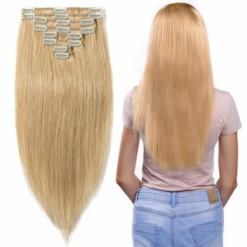 Clip in Hair Extensions Human Hair Full Head 8 Pieces 18 Clips 100% Real Silky Human Hair 10
