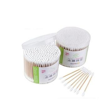 300PCS Wood Cotton Swabs With a Case-Double Tipped Cotton Buds Crabstick For Makeup Clean Care