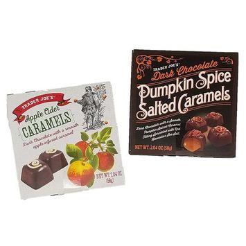 Trader Joe's Dark Chocolate Pumpkin Spice Salted Caramels bundled with Trader Joes Apple Cider Caramels (2.04 oz per box, 1 box of each flavor)