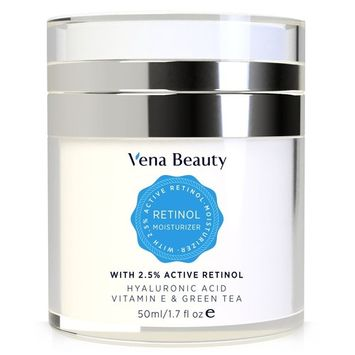 Retinol Moisturizer Cream for Face and Eye Area - with Active Retinol, Hyaluronic Acid, Vitamin E and Green Tea, Anti Aging Formula Reduces Wrinkles, Night and Day Moisturizing Cream by Vena Beauty