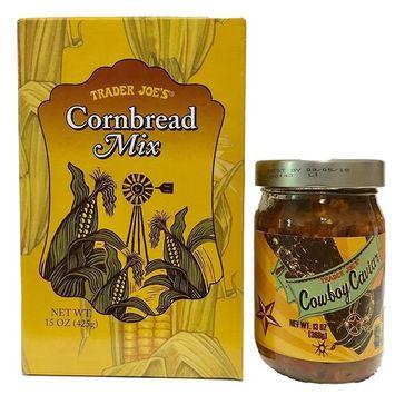 Trader Joes Cornbread Mix and Cowboy Cavier With Recipe for Cowboy Caviar Cornbread