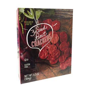 Trader Joe's Gluten Free 3 Seed Beet Crackers 6.5oz [Beet]