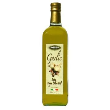 Mantova Garlic Flavored Extra Virgin Olive Oil, 34 oz Bottle - Imported from Italy - Authentic Italian EVOO - Perfect for Salads, Dressings, & Marinades