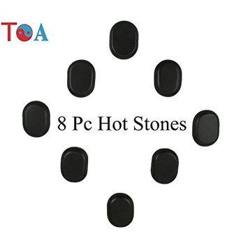 TOA 8pc Polished Basalt Large Ovular Massage Spa Hot Stone Rock Oval Therapy Box Set