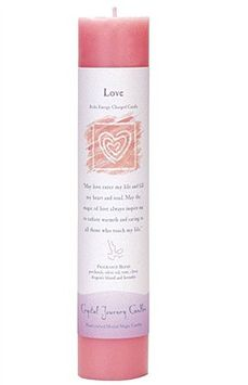 6' x 3' Crystal Journey Herbal Magic Reiki Charged Pillar Candle, Love