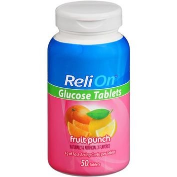ReliOn Fruit Punch Glucose Tablets, 50 Ct