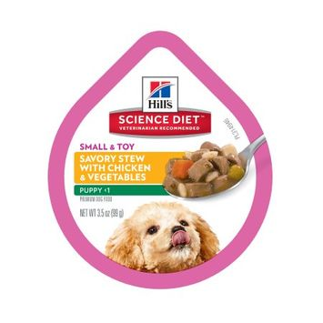Hills Pet Nutrition Hill's Science Diet Puppy Small & Toy Breed Savory Chicken & Vegetable Stew Flavor Dog Food Trays, 3.5 oz, 12-pack