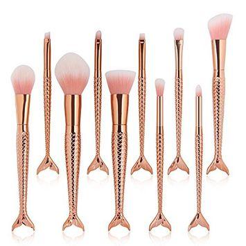 JUN_L 10pcs Mermaid Makeup Brushes Set Rose Gold Synthetic Kabuki Foundation Blending Blush Eyeliner Face Powder Brush