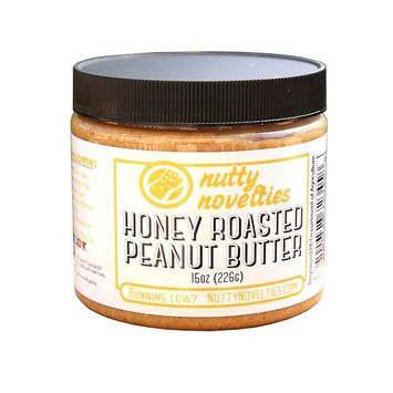 Nutty Novelties Honey Roasted Peanut Butter - High Protein, Low Sugar Healthy Peanut Butter - All-Natural Peanut Butter Free of Cholesterol & Preservatives - Crunchy Peanut Butter - 15 Ounces [Honey Roasted]