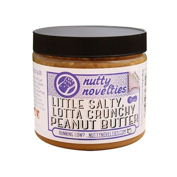 Nutty Novelties Little Salty, Lotta Crunchy Peanut Butter - High Protein, Low Sugar Healthy Peanut Butter - Cholesterol-Free, All-Natural Peanut Butter - Vegan Peanut Butter - 15 Ounces [Little Salty, Lotta Crunchy]
