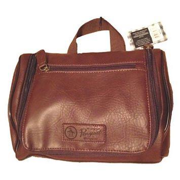 PENGUIN Munsingwear Men's Hanging Toiletry Travel Shave Kit Case Bag Brown