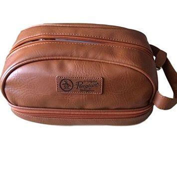 NWT $50 PENGUIN Men's Light Brown Leather Toiletry Travel Shave Kit Case Bag