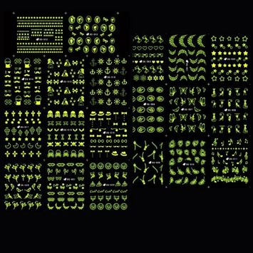 PUEEN Glow In Dark Water Tattoo Nail Art Sticker Collection Set 24 Packs All Different Designs (Over 500 Stickers) Nails Decal Decorations - GID24-BH000467
