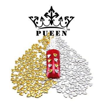 PUEEN 3D Nail Art 300 Pieces Gold & Silver 4mm HEART Metal Studs for Cellphones & Nails Decorations