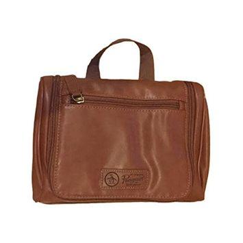 Penguin Men's Light Brown Leather Hanging Travel Toiletry Kit Bag