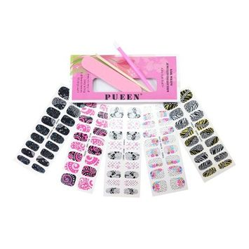 PUEEN 3D Jeweled Nail Wraps Collection JOIN OUR PARTY - 5 Pack (18 Strips Each) Nail Wraps / Nail Strips / Nail Foils / Nail Stickers / Nail Decals / Nail Patches in New High Fashion Designs-BH000195