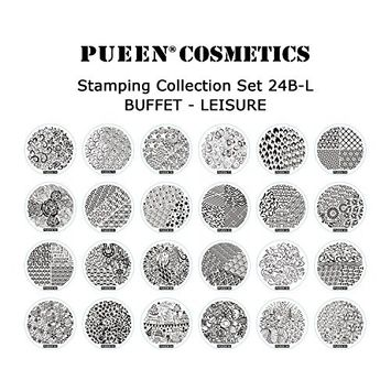 PUEEN Nail Art Stamp Collection Set 24B-L STAMPING BUFFET - LEISURE - NEW Set of 24 All You Can Stamp Full Size Stamping Image Plates Manicure DIY (Infinite Images With Your Creativity) Now with BONUS Storage Case-BH000415
