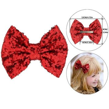 Girls Red Sequins Hair Barrette Clips with Alligator Bows Pin