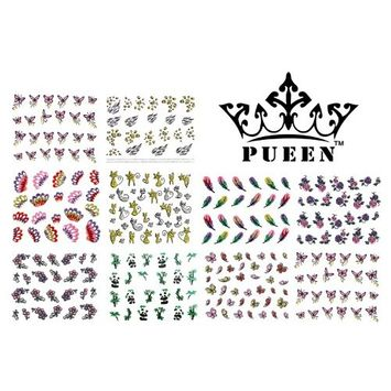 PUEEN 3D Nail Art Sticker Collection Set E1 - 10 Packs in Different Designs (Over 240 Stickers) 3D Glitter Sparkling Feathers Roses Cats Leopard Prints Nail Art Decal Stickers for Cellphones & Nails Decorations-BH000260