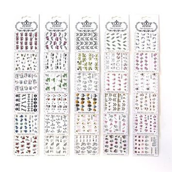 PUEEN Nail Art Water Tattoo Sticker Collection WM2 - 30 Packs All Different Designs (Over 600 Stickers) Glitter Skull Rose Heart Butterfly Sun Glass Bikini Nails Decal Decorations-BH000161
