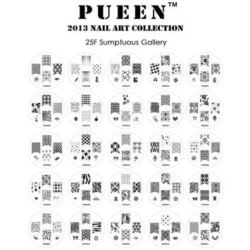 PUEEN Nail Art Stamp Collection Set 25F - NEW Unique Set of 25 Nailart Polish Stamping Manicure Image Plates Accessories Kit (Totaling 150 Images) - New Batch with Display & Storage Case-BH000019