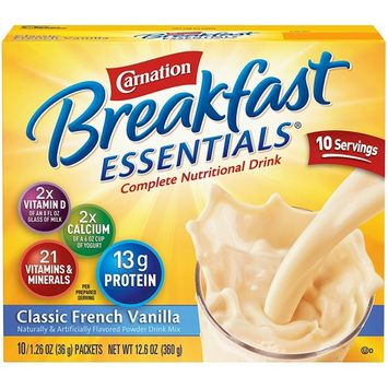 Carnation Breakfast Essentials Instant Breakfast Classic French Vanilla 10ct 2 pack