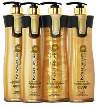 Keratin Cure Smoothing Bio-Brazilian Hair Treatment Gold and Honey 32 oz 4 piece Kit 960 ML