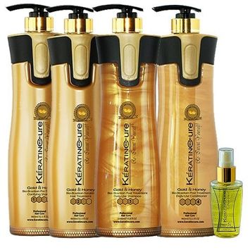 Keratin Cure Best Treatment Gold and Honey Bio 32 oz 6 Piece Kit Soft Hair Formaldehyde Free Professional Complex with Argan Oil Nourishing Straightening Damaged Dry Frizzy Coarse Curly Wavy Hair