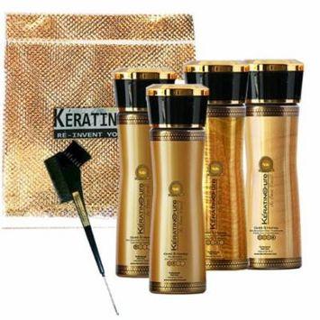 Keratin Cure 0% Formaldehyde Bio-Brazilian Hair Treatment Gold & Honey 5 oz 4 piece Kit 160 ML
