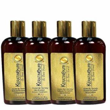 Keratin Cure 0% Formaldehyde Bio-Brazilian Hair Treatment Gold & Honey 4 oz 5 piece Kit 120 ML