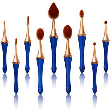 Tancy Koki Oval Mermaid Makeup Brushes Set 9pcs Original Patent Soft Professional Detachable Magnetic Toothbrush Foundation Contour Powder Blush Conceler Eyeliner Blending Brush with Gift Box