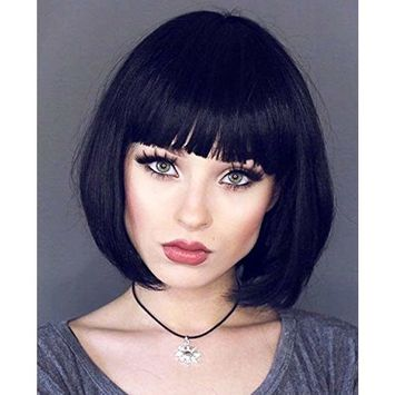 Short Bob Hair Wigs Black Cosplay Wig with Bangs for Women Girls Hot Hairstyle 12 Inch 048BK