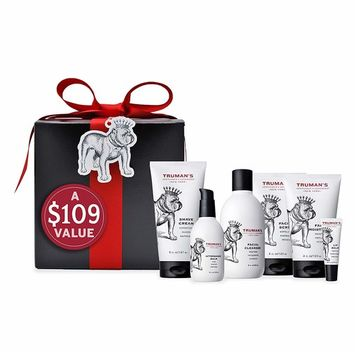 Truman's Gentlemen's Groomers Ultimate Holiday Shave & Skin Care Gift Set - Men's Facial Scrub 4 oz, Facial Moisturizer 4 oz, Facial Cleanser 8 oz, Shave Cream 5 oz, Aftershave Balm 4 oz & Lip Balm