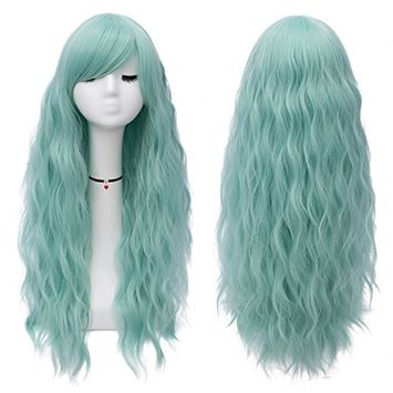 Mildiso Long Mint Green Wigs Women's Fluffy Curly Wavy Cosplay Wigs for Girl (Mint Green) M047G