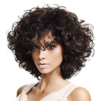 Wigs for Black Women Short Curly Wigs with Bangs Full Wig Black and Brown Kinky Curls Wig 13.7 Inch with Wig Cap By Mildiso M034