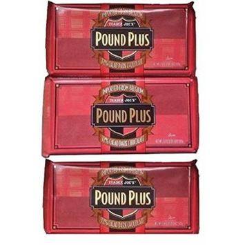 Trader Joes 72% CACAO Dark Chocolate Huge Pound Plus Candy Bars 3 Pack No Artificial Flavors No Preservatives