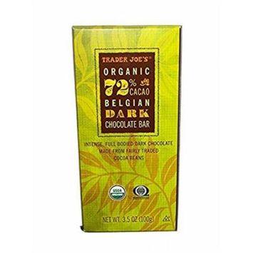 Trader Joe's Fair Trade Organic 72 % Cacao Belgian Dark Chocolate Bar ( pack of 2)