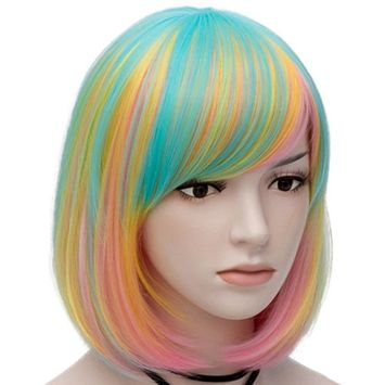 Mildiso Bob Wigs Short Colorful Wig for Girls Women (Green Pink Gold Light Blue) Straight Cosplay Wig Halloween Costume Wig Oblique Bangs with Wig Cap M021G