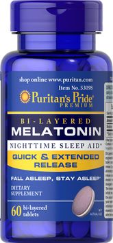 Puritan's Pride Bi-Layered Melatonin 5 mg -60 Tablets